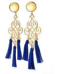 Viviane Guenoun - Gold Plated Blue Tassel Earrings - Blue - Lyst