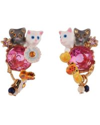 Les Nereides - Little Cats Duo With Faceted Glass And Charms Clip Earrings - Lyst