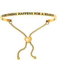 Jewelry Affairs - Intuitions Stainless Steel Everything Happens For A Reason Diamond Accent Adjustable Bracelet - Lyst