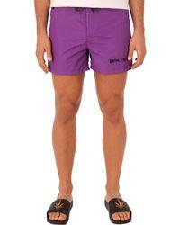 Palm Angels - Men's Purple Polyester Trunks - Lyst