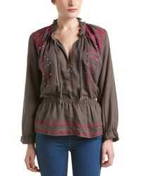 Piper - Anik Embroidered Linen-blend Top - Lyst