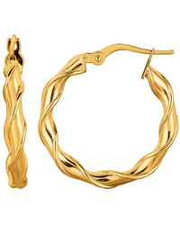 Jewelry Affairs - 14k Yellow Gold Round Type Twisted Hoop Earrings, Diameter 24mm - Lyst