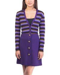 Prada - Women's Cashmere Striped Cardigan Purple - Lyst