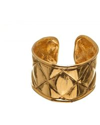 Chanel - Pre Owned- Metallic Gold Quilted Cuff Bracelet - Lyst