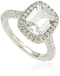 Suzy Levian | Bridal Sterling Silver Emerald-cut White Cubic Zirconia Halo Engagement Ring | Lyst