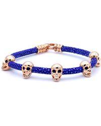 Double Bone - Multi Skull Bracelet Pink Gold/ Blue Stingray - Lyst