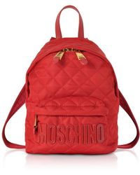 Moschino - Red Quilted Nylon Small Backpack W/signature Logo - Lyst