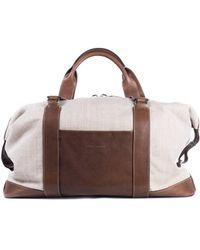 Brunello Cucinelli - Men's Beige Canvas Brown Leather Holdall Travel Bag - Lyst