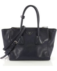 a077383a0171 Lyst - Prada Pre Owned Twin Pocket Tote Glace Calf Small in Brown
