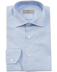 Canali - Blue Slim-fit Cotton-twill Shirt - Lyst