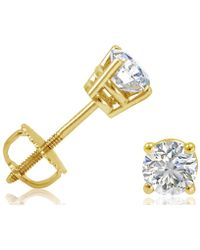 Amanda Rose Collection - 1/2ct Tw Igi Certified Diamond Stud Earrings In 14k Yellow Gold With Igi Gift Box - Lyst