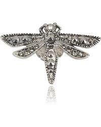 Roberto Cavalli - Small Silver Swarovski Embedded Dragonfly Brooch - Lyst