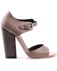 Greymer - Women's Grey Leather Heels - Lyst