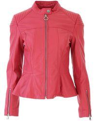Pinko - Women's Fuchsia Leather Outerwear Jacket - Lyst