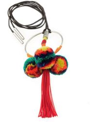 Viviane Guenoun - Adjustable Triple Pompom Tassel Necklace - Red And Multi-colored - Lyst