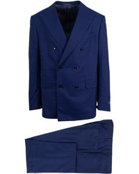 Pal Zileri - Blue Plaid Wool Super 150's Double Breasted Suit - Lyst