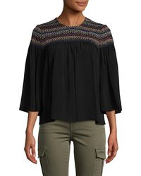 Plenty by Tracy Reese - Smocked Three-quarter Blouse - Lyst