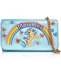 Moschino - Women's Light Blue Leather Shoulder Bag - Lyst