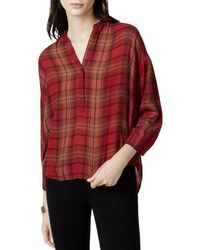 Lucky Brand - Womens Plaid High-low Casual Top - Lyst
