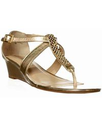 Ellen Tracy - Alden Wedge Sandals - Shimmer Taupe - Lyst