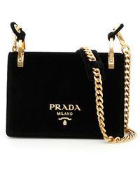 Prada - Women's Black Velvet Shoulder Bag - Lyst