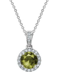 Tia Collections - 0.13ctw Diamond Halo Pendant With 6mm Peridot - Lyst