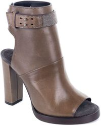Brunello Cucinelli - Brown Leather Monili Peep Toe Ankle Boots - Lyst
