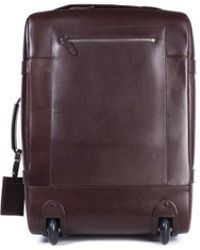 Brunello Cucinelli - Men's Brown Leather Trolley Suitcase Bag - Lyst