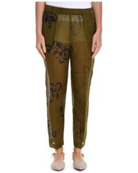 Manila Grace - Women's P596shmd490 Green Cotton Pants - Lyst