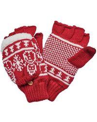San Diego Hat Company - Women's Snowman Pattern Pop Over Fingerless Glove - Lyst