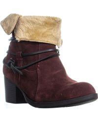 Sporto - Lori Faux Fur Comfort Ankle Booties, Wine - Lyst