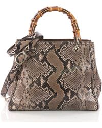 7e4eba290a00 Lyst - Gucci Pre-owned Bamboo Handle Large Shopper Bag in Brown