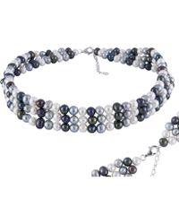 Splendid - Triple Row Multicolored Pearl Choker Necklace - Lyst