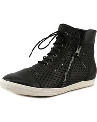 All Black - Hi-top Perf Women Round Toe Leather Trainers - Lyst