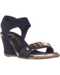 5ff23c9ba8c00 Anne Klein | Ak Sport Latasha Comfort Wedge Sandals, Dark Blue/gold | Lyst