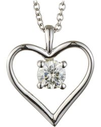 Charles & Colvard - Forever Classic Round 4.5mm Moissanite Heart Pendant Necklace, 0.33ct Dew - Lyst