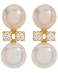 Adornia - Yellow Gold Vermeil And Swarovski Crystal Pearl Column Stud - Lyst