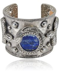 Roberto Cavalli - Silver Serpent Encircled Blue Chatoyant Quartz Bracelet - Lyst