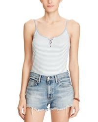 Denim & Supply Ralph Lauren - Striped Lace Up Camisole Top - Lyst