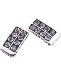 Jewelista - Oxidized Silver & Blue Topaz Stud Earrings - Lyst