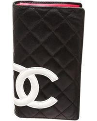 Chanel - Pre Owned - Black Quilted Leather White Cc Cambon Long Wallet - Lyst