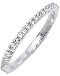 Peermont - White Gold & Round-cut Cz Single Row Eternity Ring - Lyst