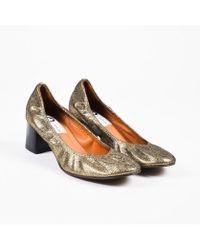 033438761851 Lanvin - Nib Gold Black Cracked Leather Block Heel Ballerina Pumps Sz 40.5  - Lyst