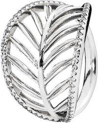 PANDORA - Silver Cz Palm Leaf Ring - Lyst