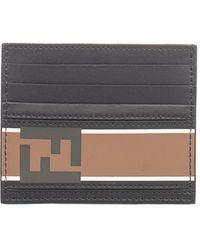 Fendi - Men's Black Leather Card Holder - Lyst