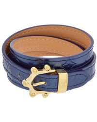 Louis Vuitton | Navy Monogram Vernis Leather Triple Tour Bracelet | Lyst