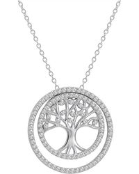 Amanda Rose Collection | 3-in-1 Cz Tree Of Life Pendant-necklace In Sterling Silver On A 18 In. Chain | Lyst