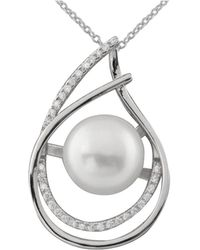 Splendid - Fancy Cz Accented Pearl Pendant Set In Sterling Silver - Lyst