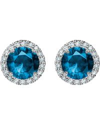 Tia Collections | 5mm Gemstone And Diamond Halo Earrings | Lyst