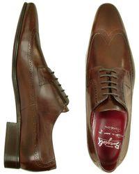Fratelli Borgioli - Handmade Brown Italian Leather Wingtip Dress Shoes - Lyst